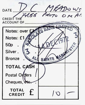 The very first bank deposit in the name of the Free Photographic Omnibus, a sponsor's £10 donation, 1972