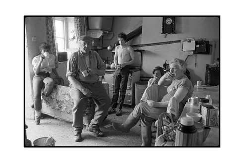 Dick French and family watching the Cup Final, Brendon Barton, Exmoor, May 1985, Beaford Archive